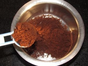 Step-1-Add the coffee powder in a flat bottomed bowl